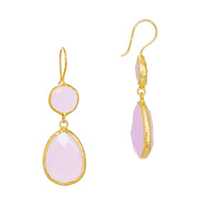 Gaia Gold-Plated Rose Quartz Drop Earrings - Product number 1496344