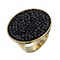 Gold-Plated Black Crystal Rock Ring Size O - Product number 1519875