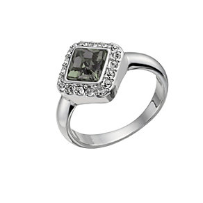 Rhodium-Plated Black Crystal Princess Cut Ring Size O - Product number 1519883