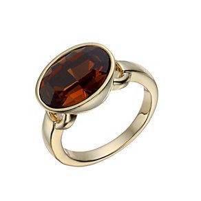 Gold-Plated Smokey Oval Crystal Ring Size O - Product number 1519913