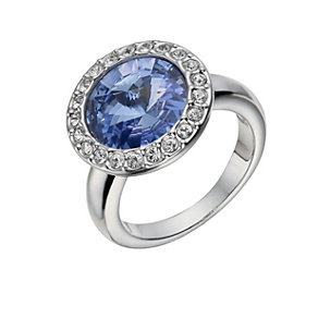 Rhodium-Plated Blue Round Crystal Ring Size O - Product number 1519948