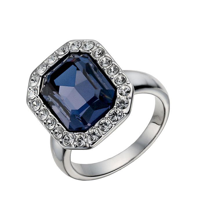 rhodium plated montana emerald cut ring size o h