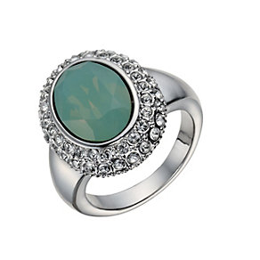 Rhodium-Plated Pacific Opal & Crystal Ring Size O - Product number 1519964