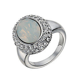 Rhodium-Plated Water Opal & Crystal Ring Size O - Product number 1519980