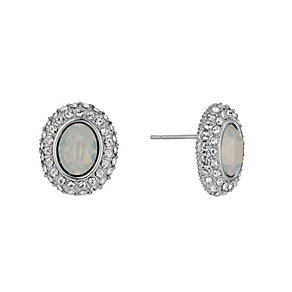 Rhodium-Plated White Opal & Crystal Stud Earrings - Product number 1519999