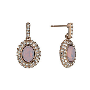 Rose Gold-Plated Rosewater Opal & Crystal Drop Earrings - Product number 1520016