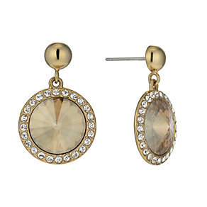 Gold-Plated Golden Round Crystal Drop Earrings - Product number 1520024