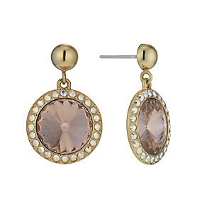 Gold-Plated Vintage Rose Crystal Drop Earrings - Product number 1520032