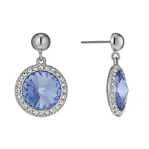 Rhodium-Plated Blue Crystal Drop Earrings - Product number 1520040