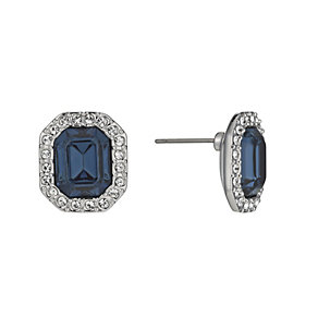 Rhodium-Plated Montana Emerald Cut Crystal Stud Earrings - Product number 1520059