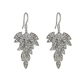 Rhodium-Plated Crystal Leaf Drop Earrings - Product number 1520067