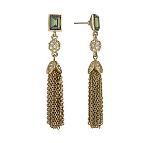 Gold-Plated Emerald Crystal Tassel Drop Earrings - Product number 1520083