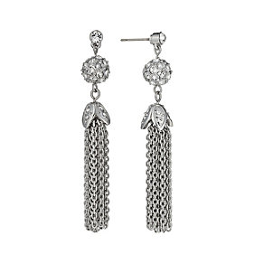 Rhodium-Plated Crystal Tassel Drop Earrings - Product number 1520091