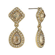 Gold-Plated Golden Crystal Double Drop Earrings - Product number 1520105