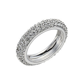 Rhodium-Plated Crystal Band Ring Size O - Product number 1520113