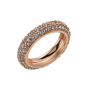 Rose Gold-Plated Crystal Band Ring Size O - Product number 1520148
