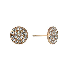 Rose Gold-Plated Crystal Set Medium Round Stud Earrings - Product number 1520156
