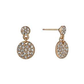 Rose Gold-Plated Crystal Set Medium Round Drop Earrings - Product number 1520164