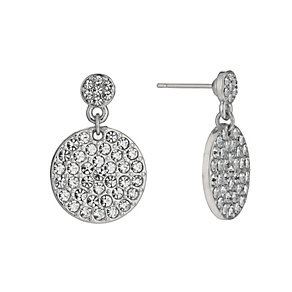 Rhodium-Plated Large Crystal Round Drop Earrings - Product number 1520172