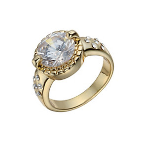 Gold-Plated Crystal Solitaire Ring Size O - Product number 1520202