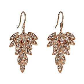 Rose Gold-Plated Crystal Leaf Drop Earrings - Product number 1520253