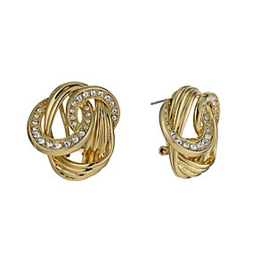 Gold-Plated Crystal Knot Stud Earrings - Product number 1520261