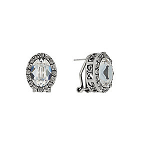 Rhodium-Plated Crystal Oval Stud Earrings - Product number 1520296