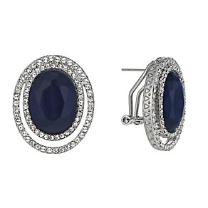 Rhodium-Plated Blue Oval & Clear Crystal Stud Earrings - Product number 1520318