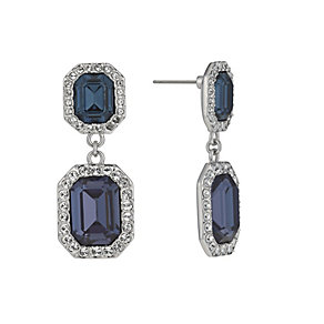Rhodium-Plated Montana Emerald Cut Crystal Drop Earrings - Product number 1520334
