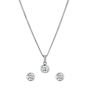 Silver Rhodium-Plated Cubic Zirconia Earrings & Pendant Set - Product number 1523546