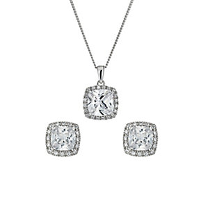 Silver Rhodium-Plated Cubic Zirconia Earrings & Pendant Set - Product number 1523597