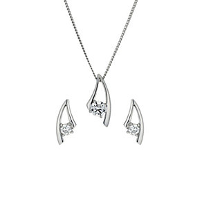 Silver Rhodium-Plated Cubic Zirconia Earrings & Pendant Set - Product number 1523619