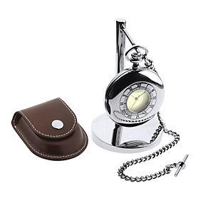 Jean Pierre stainless steel pocket watch, pouch & stand - Product number 1524860