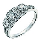 18ct white gold three stone one carat cushion diamond ring - Product number 1525530