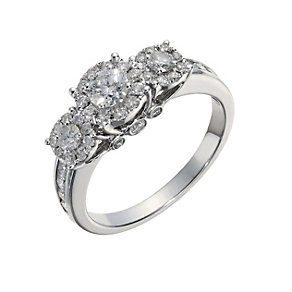 18ct white gold three stone one carat halo diamond ring - Product number 1525689
