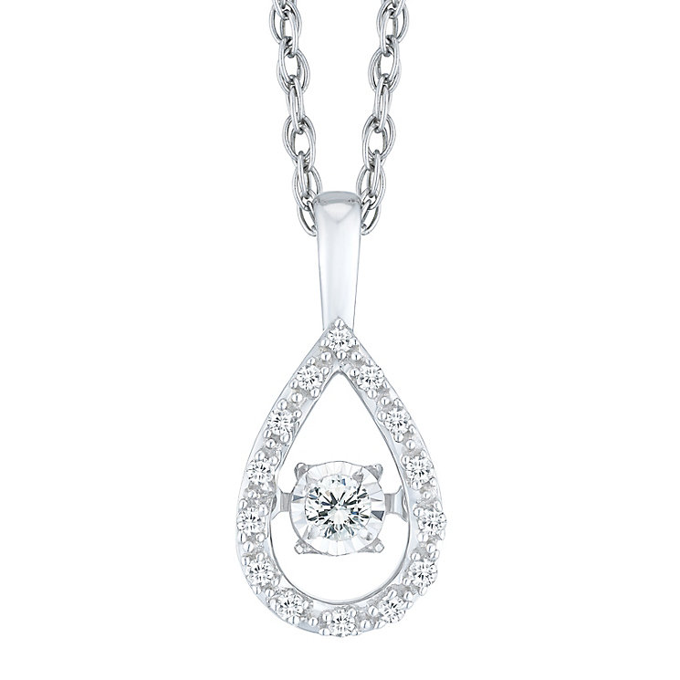 Diamonds in Rhythm silver 10 point diamond pear drop pendant - Product number 1526197