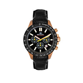 Rotary Aquaspeed men's rose gold-plated black strap watch - Product number 1526464