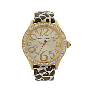 Betsey Johnson Gold Tone Leopard Print Leather Strap Watch - Product number 1591312