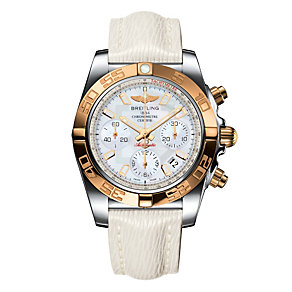 Breitling Chronomat 41 men's white leather strap watch - Product number 1591630