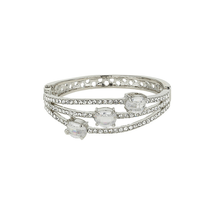 Mikey Rhodium-Plated Triple Line Crystal Bracelet - Product number 1593099