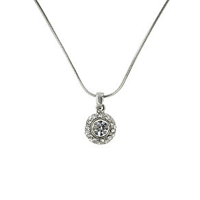 Mikey Rhodium-Plated Crystal Halo Solitaire Pendant - Product number 1593129
