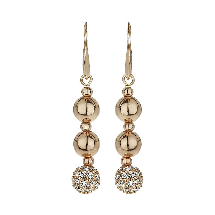 Mikey Rose Gold Tone Crystal Bead Drop Earrings - Product number 1593226