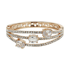 Mikey Gold Tone Triple Line Crystal Bracelet - Product number 1593307