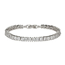 Mikey Rhodium-Plated Square Cut Crystal Tennis Bracelet - Product number 1593404