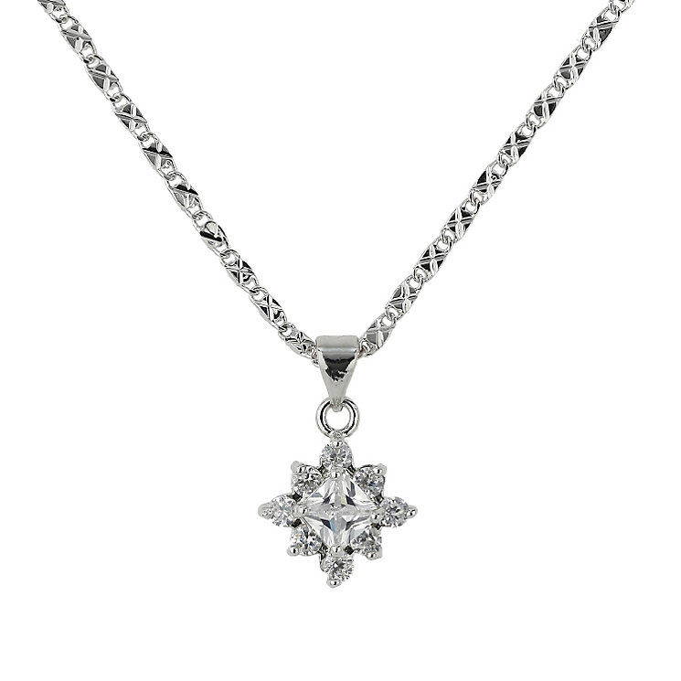 Mikey Rhodium-Plated Crystal Earrings & Pendant Set - Product number 1593463