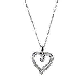 Silver & Rhodium-Plated Diamond Heart Pendant - Product number 1597531