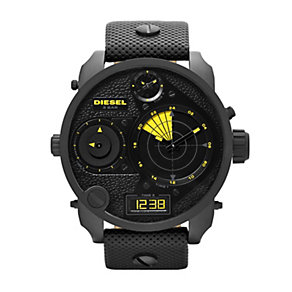 Diesel Men's Black Ion-Plated Leather Strap Watch - Product number 1597558