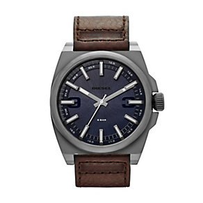 Diesel SC2 Men's Gunmetal Brown Leather Strap Watch - Product number 1597612