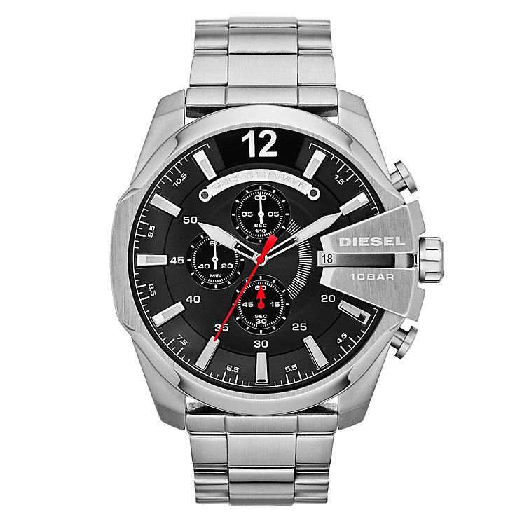 Diesel Mens Mega Chief Black Dial & Silver Bracelet Watch - Product number 1597655