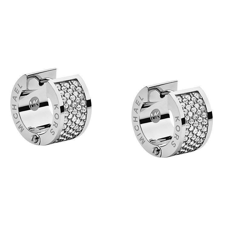 michael kors silver tone stone set huggie earrings. Black Bedroom Furniture Sets. Home Design Ideas
